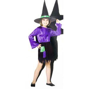 Kinder Hexen Kostüm (Kleid mit Hexenhut)  Größe: 122-128