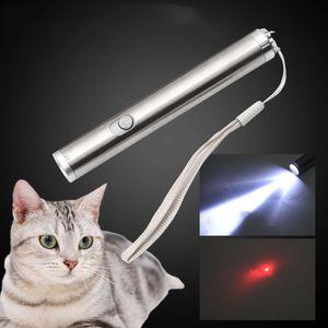 Neue lustige Katze zwei in einem roten Laser Mondlicht Taschenlampe Katzenspielzeug Silber