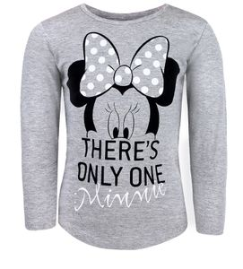 Disney Minnie Maus langarm T-Shirt Kinder Mädchen Grau Gr. 110/116