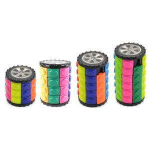 4 teiliges Set 3D Zylinderrutsche Bunte Zauberwürfel Kreativer Stressabbau Würfel Kinder Puzzle Spielzeug verwendet für ADHS