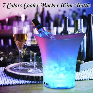 5L LED Eiswürfelbehälter Flaschenkühler Eiskübel Eisbox Weinkühler Bier Party