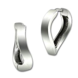 SilberDream Ohrringe Welle 16mm Damen 925er Silber Creolen Schmuck SDO4331J