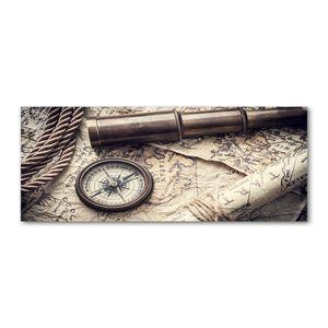 Tulup® Leinwandbild - 125x50 cm - Wandkunst - Drucke auf Leinwand - Leinwanddruck  - Landkarten & Flaggen - Beige - Kompass Lupe Karte