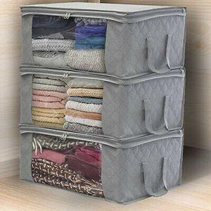 Aufbewahrungsbox Grau Stoff faltbare Aufbewahrungsboxen Kleidung Kleiderschrank Veranstalter Tasche