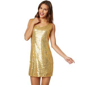 dressforfun Pailletten-Trägerkleid - gold, L