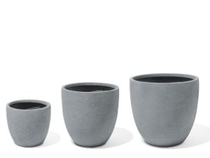 Blumentopf 3er Set Grau Pflanzenkübel für den Innen- und Aussenbereich Rund Modernes Design