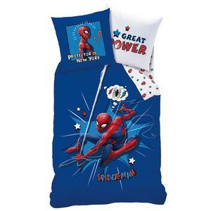 Spiderman Wende Bettwäsche Set · 135x200 80x80 · 100% Baumwolle mit Reißverschluss · Kinderbettwäsche für Mädchen und Jungen Blau