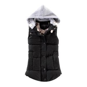 Damenweste Weibliche warme ärmellose Jacke Baumwolle feste Kapuzenweste für Oberbekleidung SFW71012311 Größe:M,Farbe:Schwarz