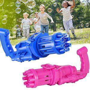 2 Stück Gatling elektrische Seifenblasenmaschine, 8-Loch-Großraum-Sprudelmaschine, Kinderspielzeug für draußen, rot und blau