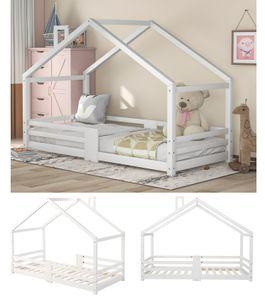 Kinderbett Hausbett Kieferbett 90 x 200 cm, Holzbett für Kids, inkl. Rausfallschutz & Lattenrosten, aus Kiefernholz, für Kinder, Weiß