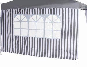 Siena Garden 400-337 Seitenteil.Faltpav. 1x mit u. 1x ohne Fenster 100% Polyester, grau/weiß (1 Stück)