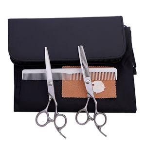 """6 \""""Edelstahl Barber Cutting Verdünnung Texturieren Schere Kamm Set 6 Zoll Silber 01 Set / Kit"""