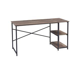 HomeGuru Schreibtisch mit 2 Regale, Industrie-Design, Vintage, 110-140*60*75 cm
