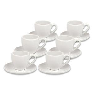 Könitz Coffee Bar No.1 Espresso, 6er Set, mit Untertasse, Espressotasse, Tasse, Porzellan, Plain White / Weiß, 75 ml, 17 5 000 0002