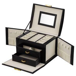 ADEL DREAM Schmuckkasten , Schmuckkoffer Damen Mädchen, abschließbar, 3 Ebenen, 2 Schubladen, Seitentüren, mit Spiegel, viel Stauraum in Farbe Schwarz
