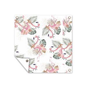 Gartenposter - Muster aus Flamingos und tropischen Blumen und Blättern vor weißem Hintergrund - 100x100 cm