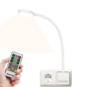 Weiß LED Wandlampe Steckdose Lampe Leselampe Badleuchte Dimmbar mit Netzstecker und Fernbedienung 4W Tageslicht 4000K 1er Lampe und 1er Fernbedienung von Enuotek