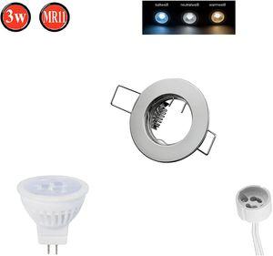 Einbaustrahler MR11 Ø50mm Bohrloch Alu inkl. MR11 3W Warmweiß 255 Lumen LED Leuchtmittel Chrome Rund