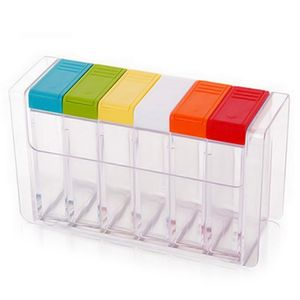 Favson Gewürz-Box Kunststoff-Gewürz-Box Küchenbedarf Würzen Salz jar Gewürz Aufbewahrungsbox 6 Gewürze Transparent,Spice Box