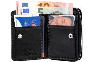 Geldbörse kleines Portemonnaie RFID Schutz Sichtfenster Reißverschluss schwarz
