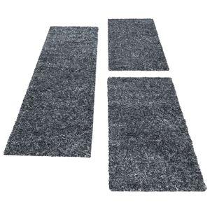Kurzflor Läuferset Teppich 3-teilig Shaggy Bettumrandung Grau Anthrazit meliert, Farbe:Anthrazit, Bettset:2 mal 80x150 + 1 mal 80x250