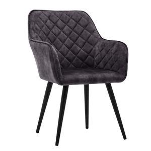 Esszimmerstuhl Polsterstuhl Armstuhl Samt Schwarz Vintage Design Sessel Metallbeine