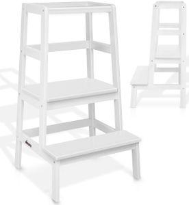 KIDUKU® Lernturm aus Holz Weiß | Kinder-Schemel für Kinder ab dem Stehalter | Lerntower für höchste Sicherheit | Learning Tower für Mädchen & Jungen