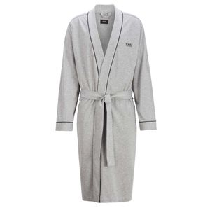 HUGO BOSS Herren Bademantel - Kimono, Logo, Baumwolle Grau L