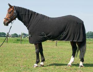 Fleecedecke Deluxe mit Halsteil schwarz Pferde Fleecedecke mit Halsteil, Größe:145