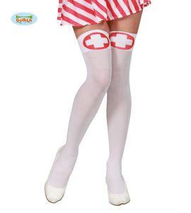 Fiestas Guirca kniestrümpfe Damen Nylon weiß/rot Einheitsgröße