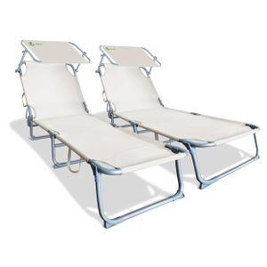 VOUNOT Gartenliege Sonnenliege Klappbar, mit Sonnendach und Rückenlehne Verstellbar, 2er Set, Beige