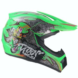 Mejia Crosshelm für Kinder hellgrün Motocrosshelm Helm Kinderhelm Endurohelm  S