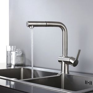 Wasserhahn Küche edelstahl Küchenarmatur 360° drehbar Armatur Küche ausziehbar Mischbatterie Küche Matt Spültischarmatur ausziehbar
