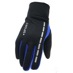 Warme wasserdichte und winddichte Wollfutter-Touchscreen-Handschuhe für Herren(Blau)