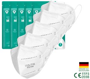 5X Atemschutzmasken FFP3 (Einzeln verpackt) gegen Viren,Respirator Gesichtsmaske Masken mit Schichten Filter 99% Viren Anti Pm2.5 Lungenentzündung Influenza Grippe Masken gegen Staub Anti Verschmutzungsmasken, FFP3,Höchste Schutzklasse