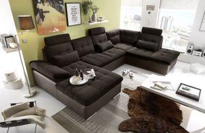 JAKARTA Wohnlandschaft mit Schlaffunktion Couch Sofa Schlafsofa Dunkelbraun, Ausführung:Rechts