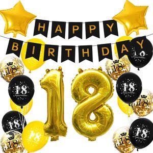 Oblique Unique 18. Geburtstag Party Deko Set - Happy Birthday Girlande + Zahl 18 Ballons + Konfetti Luftballons