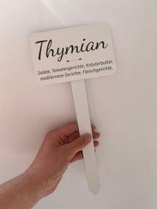 Kräuterschild XXL Pflanzenstecker XXL  Thymian für Beet und Topf Aluverbund 120 x 75 mm