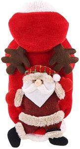 Hund Weihnachten Kostüm mit Kapuze Rentier Weihnachtsmann Cosplay Hundepullover Hundejacke Hundekleidung Warm Winterpullover Haustier Kleidung für Katzen Welpen (XL)