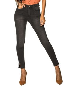 Damen Skinny Denim Jeans High Waist Stretch Hose Ankle Cropped, Farben:Schwarz, Größe:XL