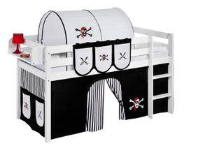 Lilokids Spielbett JELLE Pirat Schwarz Weiß - Hochbett - weiß - mit Vorhang - Maße: 113 cm x 208 cm x 98 cm; JELLE2054KW-PIRAT-SCHWARZ-S