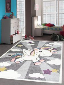Kinderteppich Spielteppich Babyteppich mit Einhorn Regenbogen in Grau Creme Größe - 160x230 cm