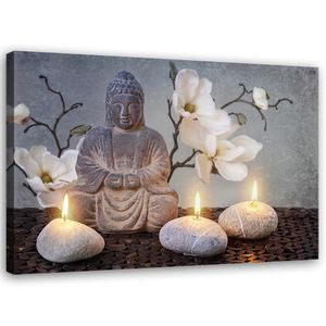 Leinwand, Buddha Kerzen HORIZONTAL, hochwertiger Druck,Wanddekoration,Wandbild, Größe:60x40
