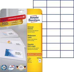 AVERY Zweckform Universal Etiketten 70 x 37 mm weiß 240 Etiketten