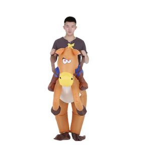 Decdeal Lustiger Cowboy Reiter auf Pferd Aufblasbares Kostuem Outfit fuer Erwachsene Kostuem Halloween Karneval Party Aufblasbarer Kostuemanzug Mit Batteriebetriebenem Luefter