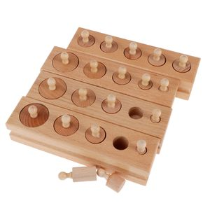 4 Sets Montessori Zylinder Blöcke Pädagogisches Holzspielzeug