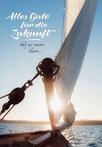DeCoArt... 1 XXL-Karte Riesenkarte Alles Gute für die Zukunft Segel Wasser Schiff 22x31 cm mit Umschlag