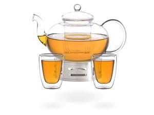 Melina Teeset / Teeservice / Teekanne Glas 1,8 liter mit Sieb, Stövchen aus Edelstahl und 2 doppelwandige Teegläser je 200ml