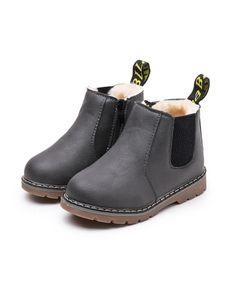 Kinder Jungen Und Mädchen Einfarbige Stiefeletten Kurze Lederschuhe Martin Stiefel,Farbe: Grau Plus Samt,Größe:28