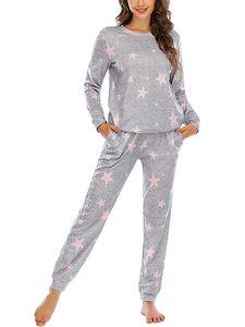 Damen Pyjama-Set Nachtwäsche lang zweiteiliger Schlafanzug ,Farbe: Hellgraue rosa Sterne,Größe:S